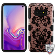 MyBat TUFF Hybrid Protector Cover [Military-Grade Certified] for Samsung Galaxy S10E - Black Bud Silk Lace (2D Rose Gold) / Black