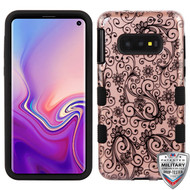 MyBat TUFF Hybrid Protector Cover [Military-Grade Certified] for Samsung Galaxy S10E - Black Four-Leaf Clover (2D Rose Gold) / Black