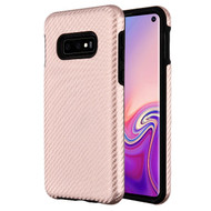 MyBat Fuse Hybrid Protector Cover for Samsung Galaxy S10E - Rose Gold Carbon Fiber Texture / Black