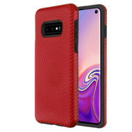 MyBat Fuse Hybrid Protector Cover for Samsung Galaxy S10E - Red Carbon Fiber Texture / Black