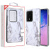 MyBat Fuse Hybrid Protector Cover for Samsung Galaxy S20 Ultra (6.9) - White Marbling / Iron Gray