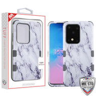 MyBat TUFF Hybrid Protector Cover [Military-Grade Certified] for Samsung Galaxy S20 Ultra (6.9) - White Marbling / Iron Gray