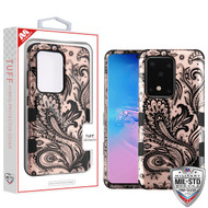 MyBat TUFF Hybrid Protector Cover [Military-Grade Certified] for Samsung Galaxy S20 Ultra (6.9) - Phoenix Flower (2D Rose Gold) / Black