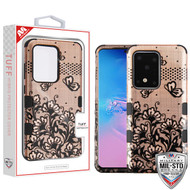 MyBat TUFF Hybrid Protector Cover [Military-Grade Certified] for Samsung Galaxy S20 Ultra (6.9) - Black Lace Flowers (2D Rose Gold) / Black