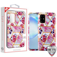 MyBat TUFF Hybrid Protector Cover [Military-Grade Certified] for Samsung Galaxy S20 PLUS (6.7) - Roses Marble / Rose Gold