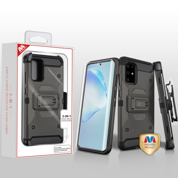 MyBat 3-in-1 Kinetic Hybrid Protector Cover Combo (with Black Holster)(with Full-coverage Screen Protector) for Samsung Galaxy S20 PLUS (6.7) - Dark Grey / Black
