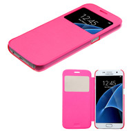 MyBat Silk Texture MyJacket (with Transparent Frosted Tray) for Samsung G930 (Galaxy S7) - Hot Pink