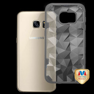 MyBat Challenger Hybrid Protector Cover for Samsung G930 (Galaxy S7) - Transparent Clear Polygon / Iron Gray