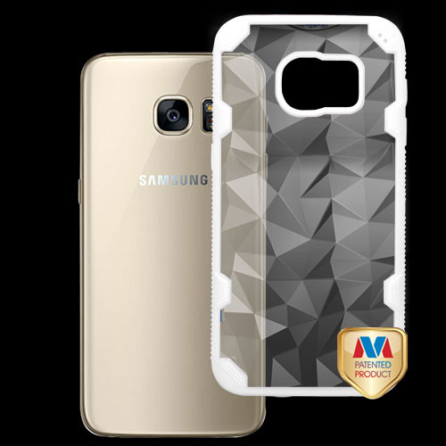 MyBat Challenger Hybrid Protector Cover for Samsung G930 (Galaxy S7) - Transparent Clear Polygon / Solid White