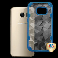MyBat Challenger Hybrid Protector Cover for Samsung G930 (Galaxy S7) - Transparent Clear Polygon / Dark Blue