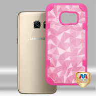 MyBat Challenger Hybrid Protector Cover for Samsung G930 (Galaxy S7) - Transparent Rose Gold Polygon / Hot Pink
