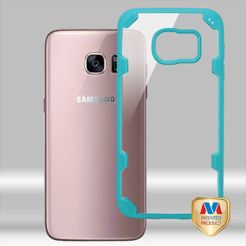 MyBat FreeStyle Challenger Hybrid Protector Cover for Samsung G930 (Galaxy S7) - Transparent Clear / Turquoise