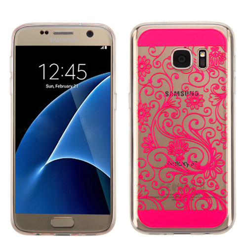 MyBat Clover Candy Skin Cover for Samsung G930 (Galaxy S7) - Hot Pink four-leaf
