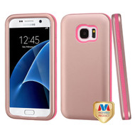 MyBat VERGE Hybrid Protector Cover [New Improved Design] for Samsung G930 (Galaxy S7) - Rose Gold / Electric Pink