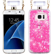 MyBat Quicksand Glitter Diamante Perfume Bottle Protector Cover(with Chain) for Samsung G935 (Galaxy S7 Edge) - Pink