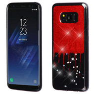 MyBat Krystal Gel Series Candy Skin Cover for Samsung Galaxy S8 - Red Glittering & Silver Stars (Black)
