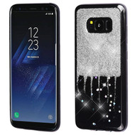 MyBat Krystal Gel Series Candy Skin Cover for Samsung Galaxy S8 - Silver Glittering & Silver Stars (Black)