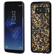 MyBat Krystal Gel Series Candy Skin Cover for Samsung Galaxy S8 - Gold Flakes (Black)