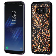 MyBat Krystal Gel Series Candy Skin Cover for Samsung Galaxy S8 - Rose Gold Flakes (Black)