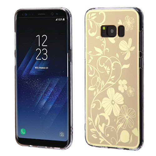 MyBat Gummy Cover for Samsung Galaxy S8 - Phoenix-tail Flowers Electroplating (Gold) / Transparent Clear