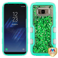 MyBat TUFF Quicksand Glitter Hybrid Protector Cover for Samsung Galaxy S8 - Natural Teal Green / Green Meteor Shower