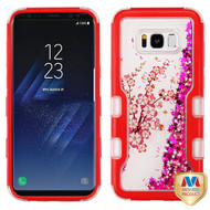 MyBat TUFF Quicksand Glitter Hybrid Protector Cover for Samsung Galaxy S8 - Natural Red / Spring Flowers & Hot Pink Meteor Shower