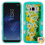 MyBat TUFF Quicksand Glitter Hybrid Protector Cover for Samsung Galaxy S8 - Natural Teal Green / Spring Daffodils & Green Meteor Shower