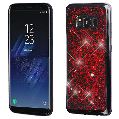 MyBat Krystal Gel Series Candy Skin Cover for Samsung Galaxy S8 Plus - Red Starry Sky (Black)