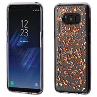 MyBat Krystal Gel Series Candy Skin Cover for Samsung Galaxy S8 Plus - Rose Gold Flakes (Transparent Clear)