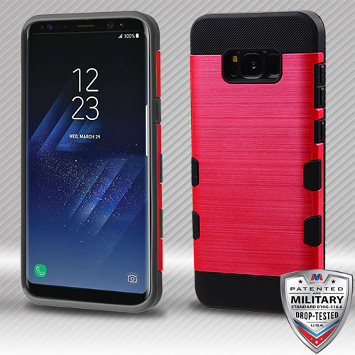 MyBat Brushed TUFF Trooper Hybrid Protector Cover [Military-Grade Certified] for Samsung Galaxy S8 Plus - Red / Black