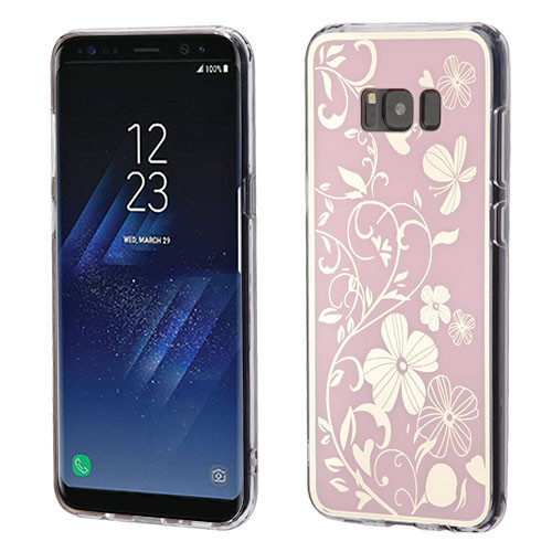 MyBat Gummy Cover for Samsung Galaxy S8 Plus - Phoenix-tail Flowers Electroplating (Pink) / Transparent Clear