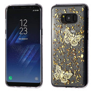 MyBat Krystal Gel Series Candy Skin Cover for Samsung Galaxy S8 Plus - Gold Butterflies Glitter (Transparent Clear)