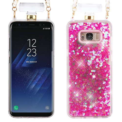 MyBat Quicksand Glitter Diamante Perfume Bottle Protector Cover(with Chain) for Samsung Galaxy S8 Plus - Pink
