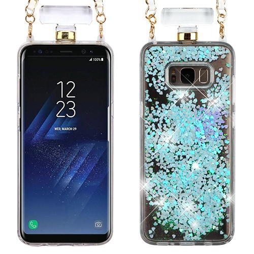 MyBat Quicksand Glitter Diamante Perfume Bottle Protector Cover(with Chain) for Samsung Galaxy S8 Plus - Light Blue