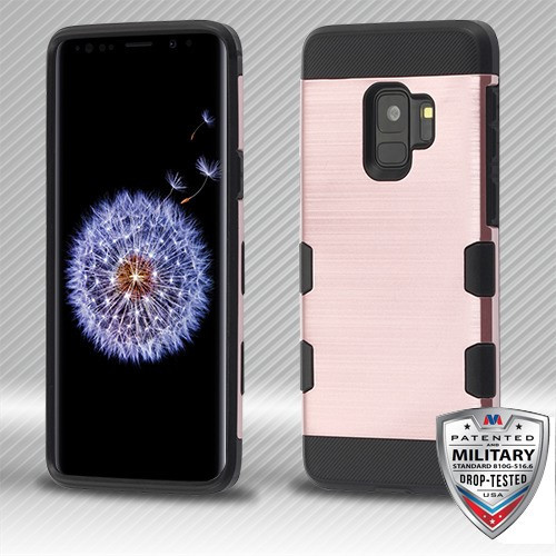 MyBat Brushed TUFF Trooper Hybrid Protector Cover [Military-Grade Certified] for Samsung Galaxy S9 - Rose Gold / Black