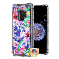 MyBat TUFF Quicksand Glitter Lite Hybrid Protector Cover for Samsung Galaxy S9 - Watercolor Hibiscus / Silver