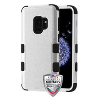 MyBat TUFF Hybrid Protector Cover [Military-Grade Certified] for Samsung Galaxy S9 - Textured Silver / Black