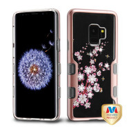 MyBat TUFF Panoview Hybrid Protector Cover for Samsung Galaxy S9 - Metallic Rose Gold / Spring Flowers Diamante