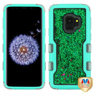MyBat TUFF Quicksand Glitter Hybrid Protector Cover for Samsung Galaxy S9 - Natural Teal Green / Green Sparkles Liquid Flowing