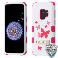 MyBat TUFF Hybrid Protector Cover (with Stand)[Military-Grade Certified] for Samsung Galaxy S9 - Butterfly Dancing / Hot Pink