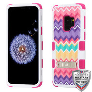 MyBat TUFF Hybrid Protector Cover (with Stand)[Military-Grade Certified] for Samsung Galaxy S9 - Camo Wave / Hot Pink
