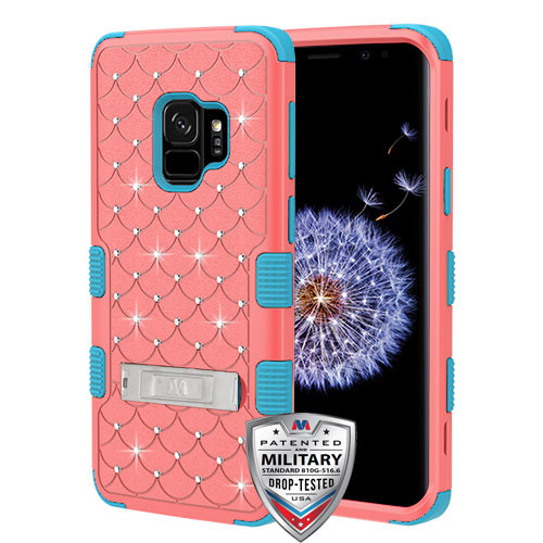MyBat FullStar TUFF Hybrid Protector Cover (with Stand)[Military-Grade Certified] for Samsung Galaxy S9 - Natural Baby Red / Tropical Teal