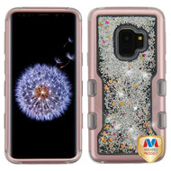 MyBat TUFF Quicksand Glitter Hybrid Protector Cover for Samsung Galaxy S9 - Rose Gold / Silver Sparkles Liquid Flowing