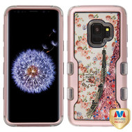 MyBat TUFF Quicksand Glitter Hybrid Protector Cover for Samsung Galaxy S9 - Rose Gold / Paris in Full Bloom & Rose Gold Sparkles Liquid Flowing