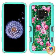 MyBat TUFF Quicksand Glitter Hybrid Protector Cover for Samsung Galaxy S9 - Natural Teal Green / Vintage Rose Bush & Green Sparkles Liquid Flowing