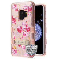 MyBat TUFF Hybrid Protector Cover (with Stand)[Military-Grade Certified] for Samsung Galaxy S9 - Vintage Rose Bush Textured Rose Gold / Rose Gold