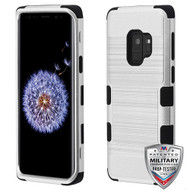 MyBat TUFF Hybrid Protector Cover [Military-Grade Certified] for Samsung Galaxy S9 - Silver Brushed / Black