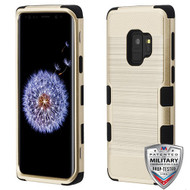 MyBat TUFF Hybrid Protector Cover [Military-Grade Certified] for Samsung Galaxy S9 - Gold Brushed / Black