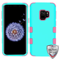 MyBat TUFF Hybrid Protector Cover [Military-Grade Certified] for Samsung Galaxy S9 - Rubberized Teal Green / Electric Pink