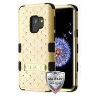 MyBat FullStar TUFF Hybrid Protector Cover (with Stand)[Military-Grade Certified] for Samsung Galaxy S9 - Gold / Black
